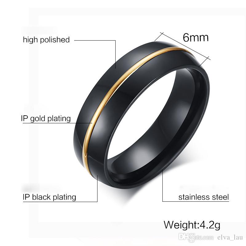 New Design Mens Fashion Jewelry IP Black and Gold Plated Mens Rings 6mm Wide High Polished Titanium Stainless Steel Rings For Men