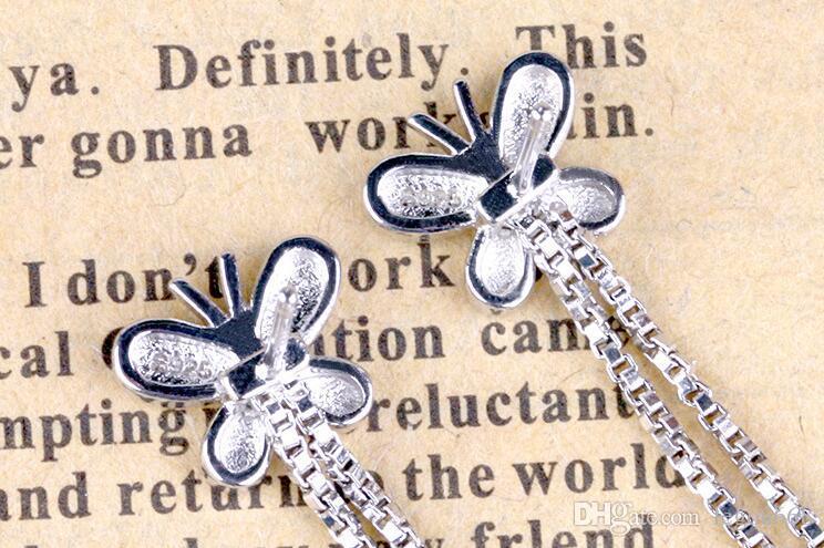 Moda Brincos De Prata Borla Cadeia De Borboleta Brincos Do Vintage Europeus E Americanos Mulheres Brincos Da Orelha Jóias G531