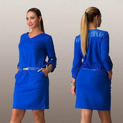 Nice Autumn Plus Size Women Dress Casual Straight Solid Three