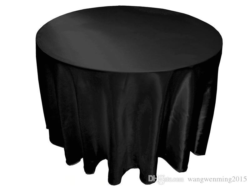 Hot Table Cloth Large Size Table Cover White Black Round Satin For