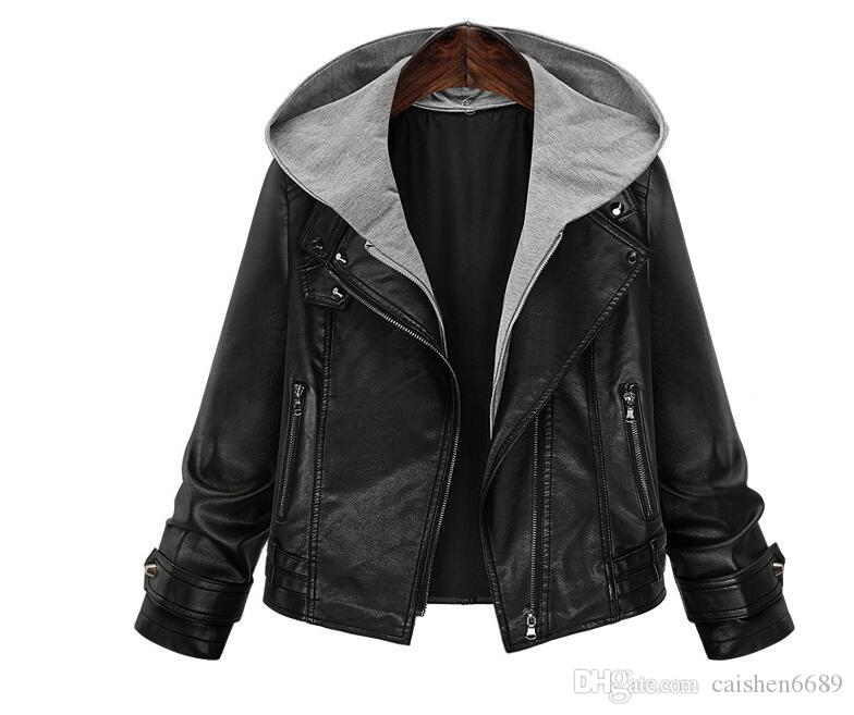 10d9b1fbb1a 2019 Plus Size 5XL Women S Hooded Leather Jacket Short Coats 2018 New  Fashion Loose Motorcycle Leather Clothing Casual Women S Jacket Coat Female  From ...