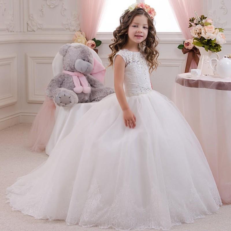 2016 Flower Girls Dresses For Weddings White Cap Sleeves Birthday Dress  Sweep Train Tulle Children Party Kids Girl Ball Gowns Toddler Flower Girl  Dress ...