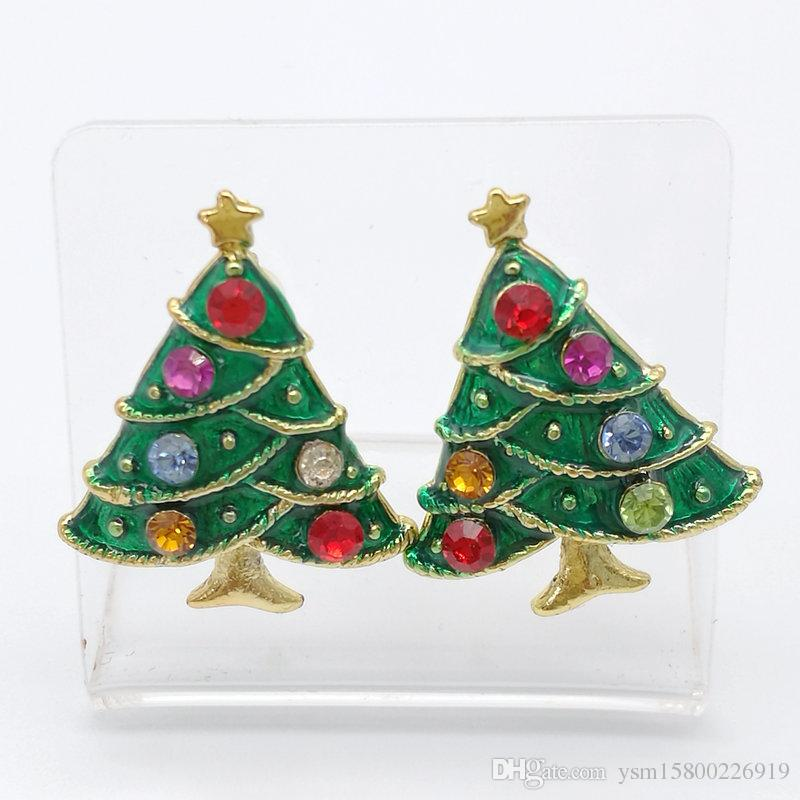 New Year Series Metal Drops Drill Christmas Tree Earrings 24 * 19MM Jewelry Gifts Christmas Decorative Earrings