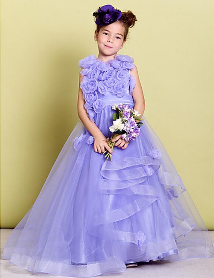 New Lovely Tulle Sleeveless Hand Made Flowers Jewel Ruching Flower Girls 'Abiti da spettacolo ragazze