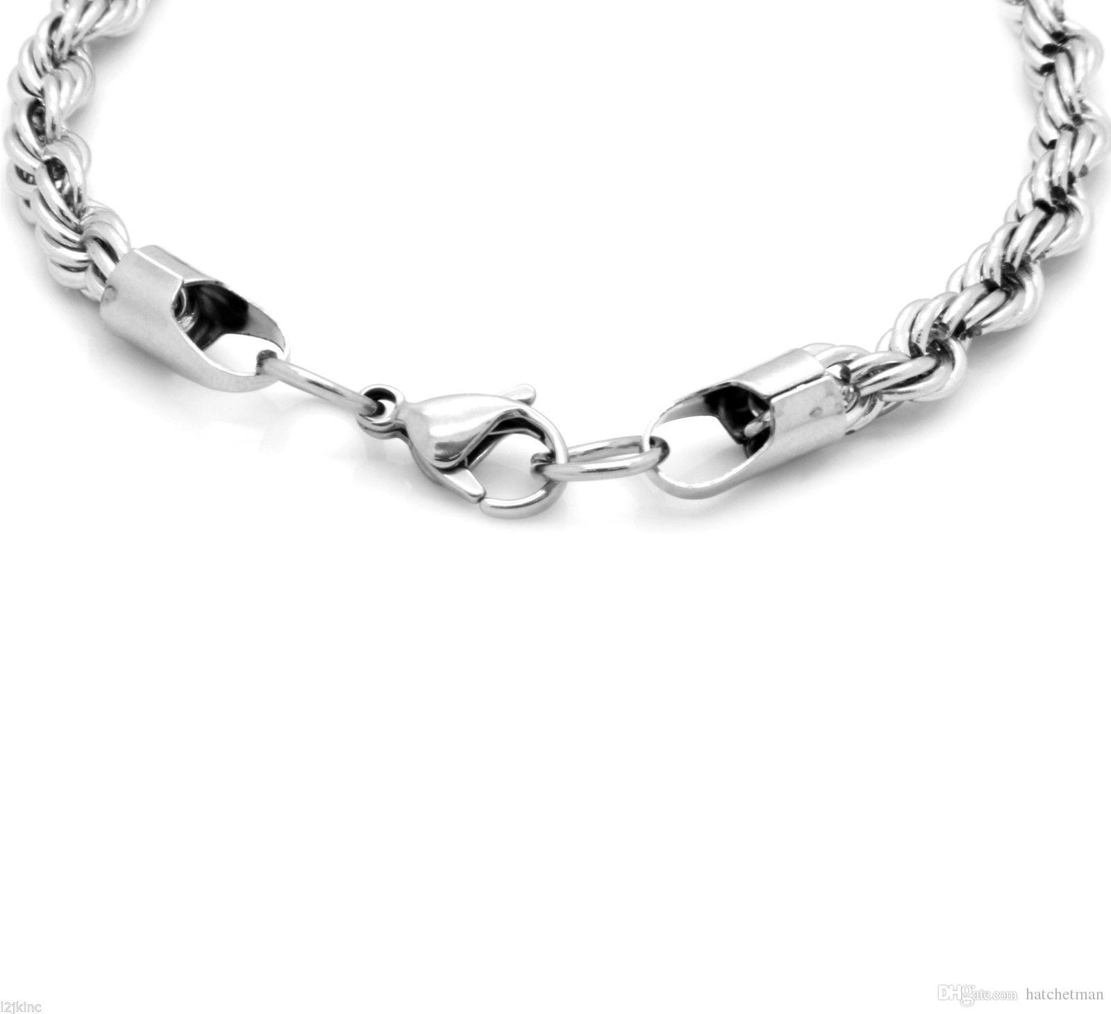 Collana in acciaio inossidabile da 5 mm con catena a corda francese Collana da uomo da 30