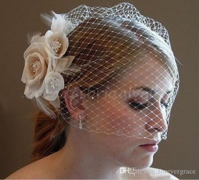 Cheap Elegant Champagne Flower Birdcage Face Veil Bridal Hats Headwear With Comb wedding headpiece Hair accessory