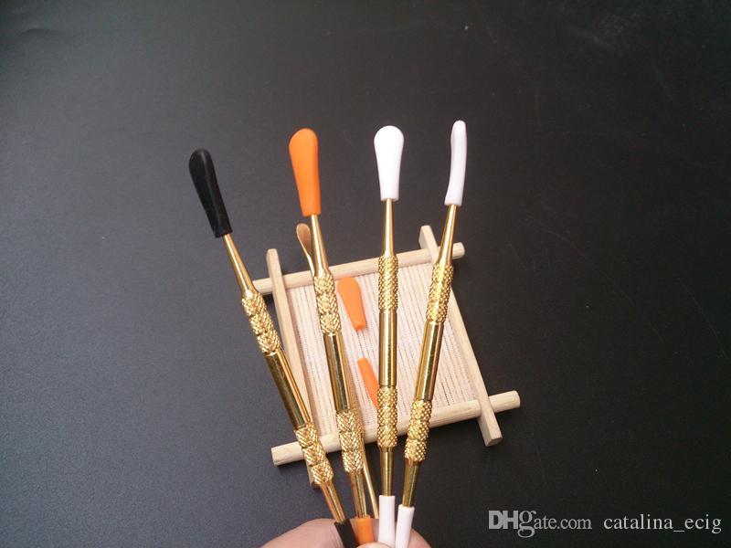 Wachs Dabber Tools Wachszerstäuber Tank Gold Farbe lange 120mm Dab Jar Smoking Tool trockenes Kraut Dabber Titandampf Kugelschreiber mit Silikonspitze