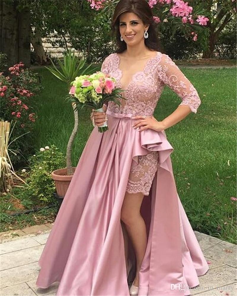 Compre Sexy Vintage Lace Cheap Long Prom Dresses Detachable Tren ...