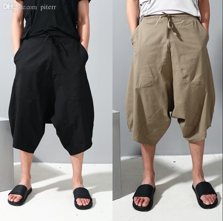 d423dd38bf Wholesale-Gothic Drop Crotch Mens Cargo Wide Leg Pants Punk Men Casual  Fashion Trousers Loose Men's Joggers Culottes Black