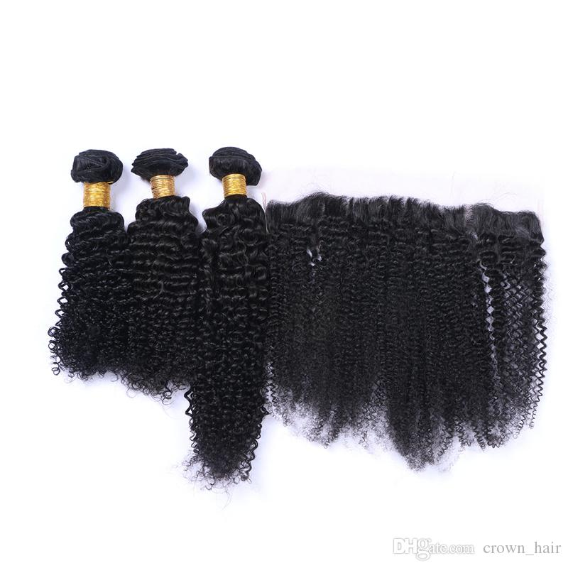 9A Virgin Human Hair Ear to Ear Lace Frontal Closure With Hair Weaves Kinky Curly Lace Frontals With Bundles