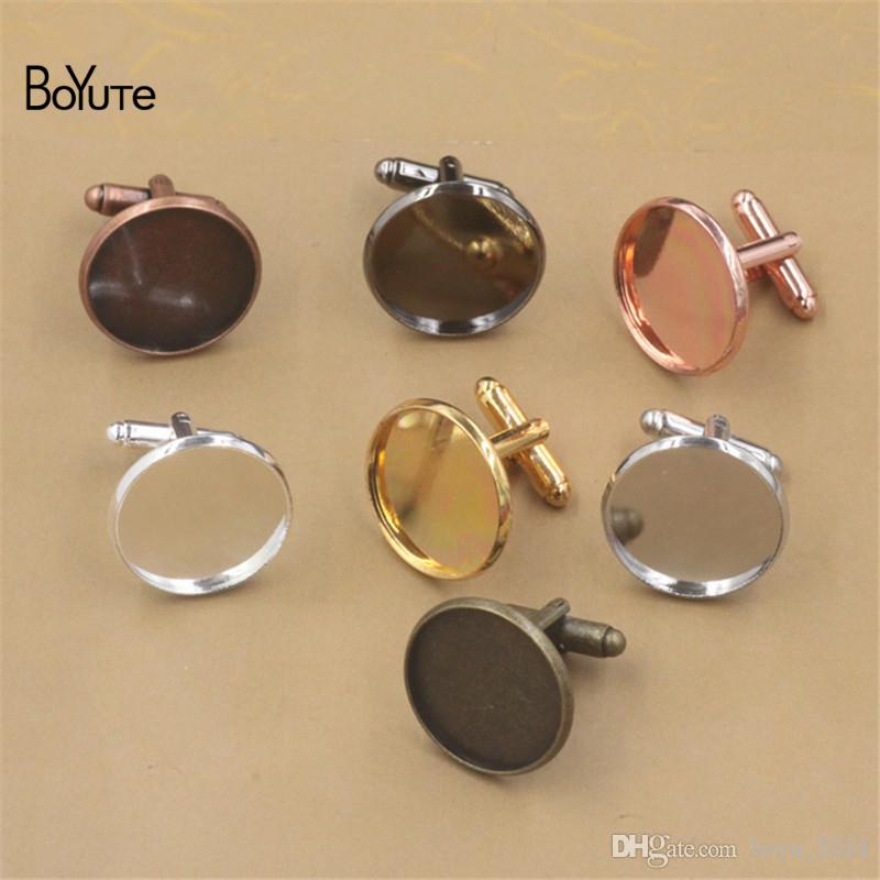 BoYuTe Round 12 MM 14MM 16MM 20MM Cabochon Base Metal French Cufflink Blanks Tray Bezel Diy Jewelry Accessories