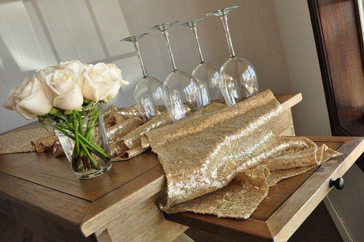 Sparkle Champagne Gold Wedding Table Runner Rose Gold Party Decor Silver Wedding Table Runner Winter Wonderland Party Decorations 275*30 CM