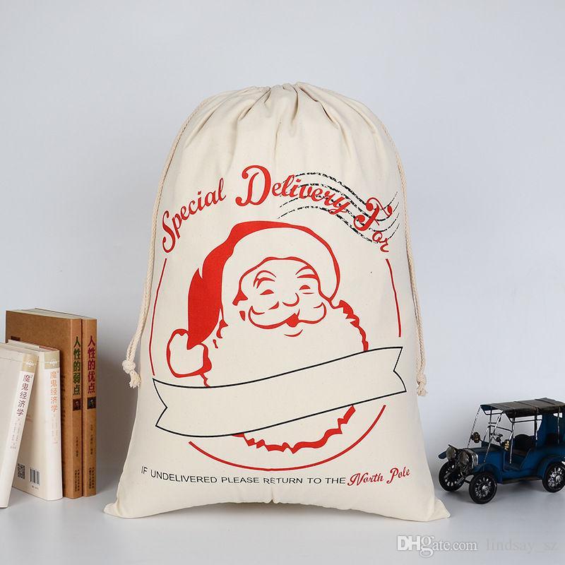Sac de cordon du Père Noël Monogrammable de grande toile de Noël de avec des rennes, sacs de sac de Noël monogrammables