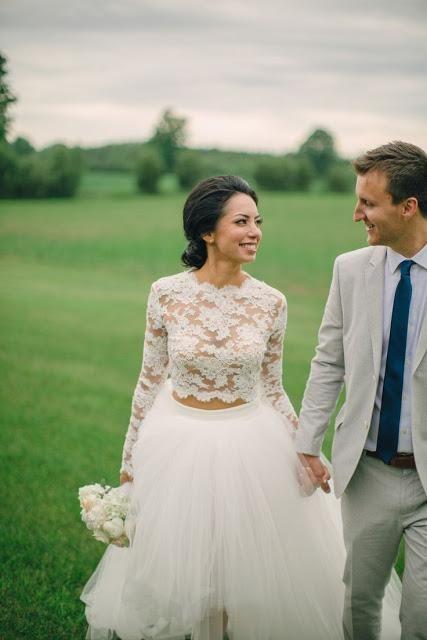 2016 High Low Hi-Lo Lace Wedding Dresses Lace Top Two Pieces Long Sleeve Garden Beach Wedding Gowns Vestidos de Novia Puffy Tutu Skirt