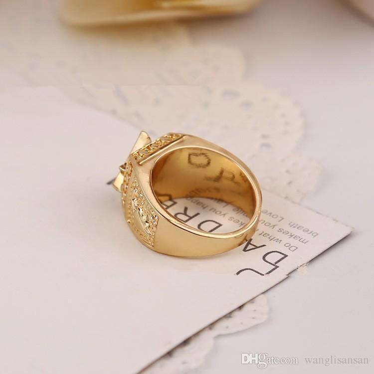 Fashion Unisex 18K Yellow Gold Plated Square Free Mason Freemasonry Masonic Finger Ring for Men or Women Size:7-12