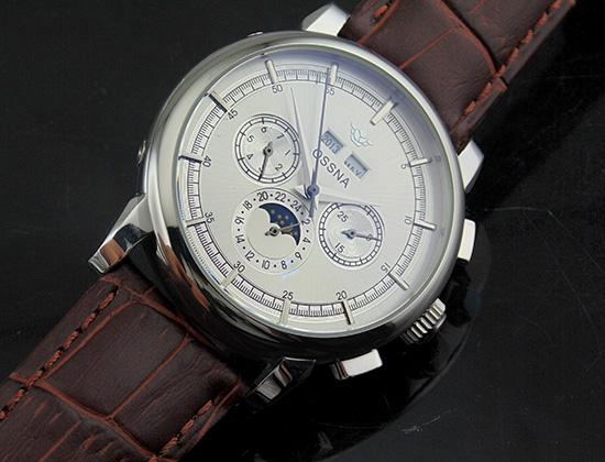 1657 Ossna 42mm Silver Dial Moon Phase Silver Analog markers Silver Stainless Steel Case Mechanical Men's Top Quality Watch