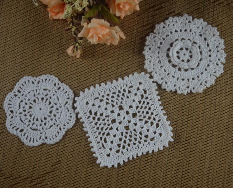 8 13cm white crocheted doilies placemats for wedding - Crochet mural vintage ...