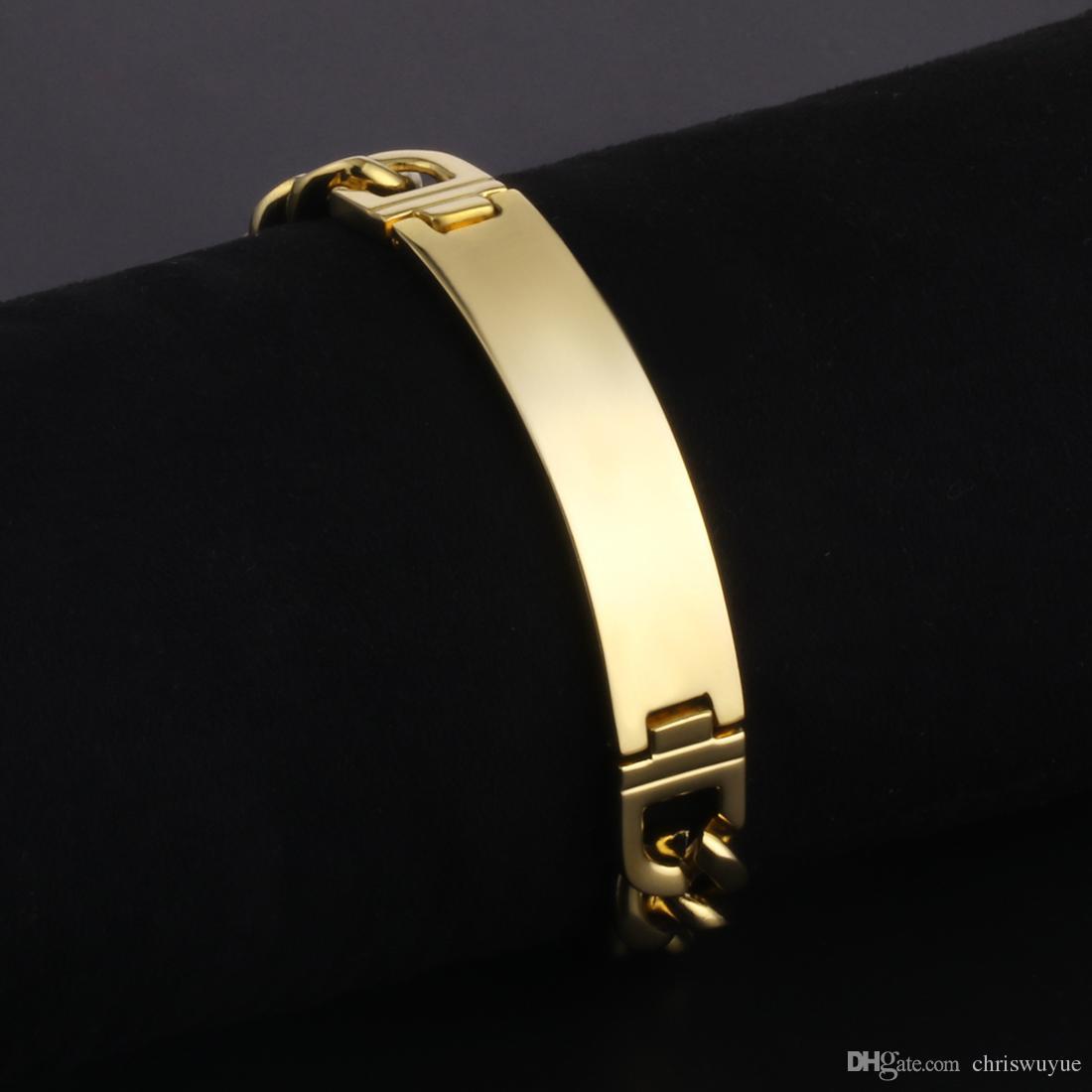 Nouvelle arrivée en acier inoxydable Bracelet pour hommes Design classique couleur or chaîne de Cuba Chaîne Bracelets Simple Bijoux Mens cadeau 225mm 8.9inch