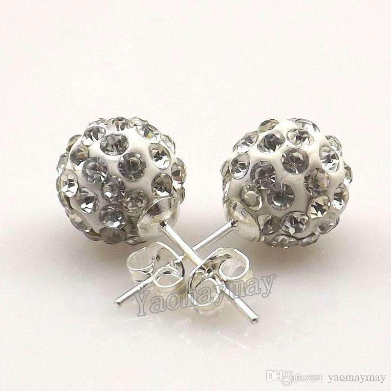 Nieuwe Collectie Wit Disco Balls Crystal Earring Studs voor Vrouwen 20 Paren Groothandel Gratis Verzending