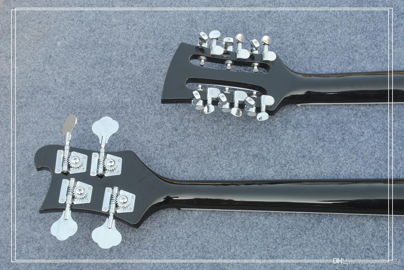 New Double neck bass guitar 4 string bass and 12 string guitar black Electric Guitar OEM Available