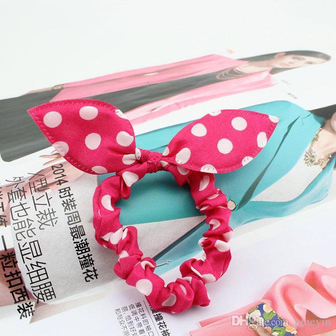 Ornamentos del pelo del estilo de la mezcla Orejas de conejo del lunar vendas elásticos del pelo Headwear de la muchacha Diadema Scrunchy anillo del lazo del pelo de los niños