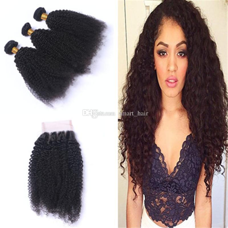 New Arrival Afro Kinky Curly Hair Bundles With Lace Closure 4x4 Mongolian Human Hair Extensions With Top Lace Closure Pieces For Black Woman