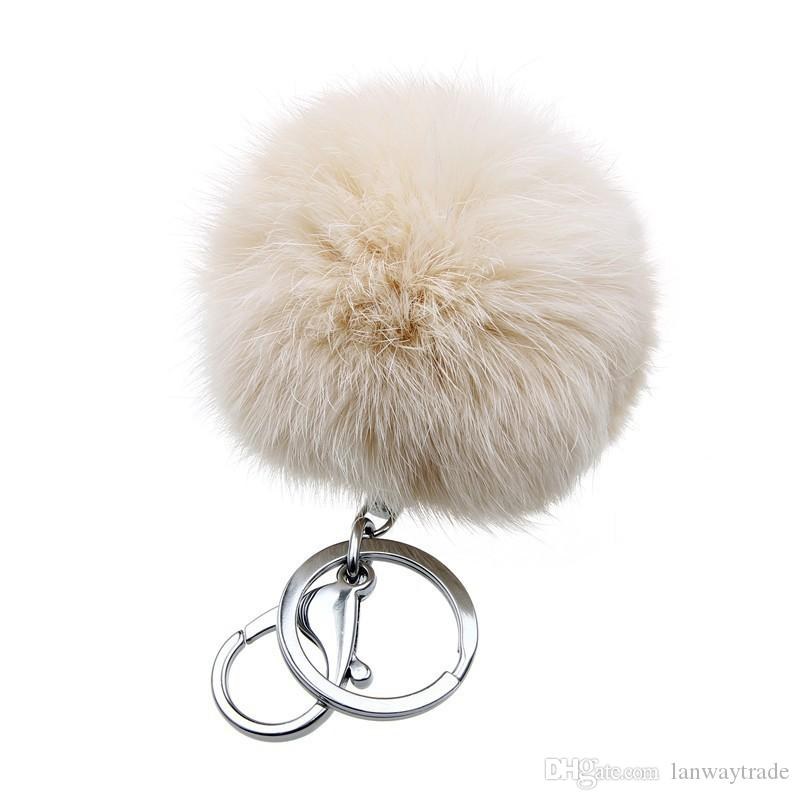 Retal Soft Real Rabbit Fur Ball Metal Key Chains Ball Pom Poms Plush Keychain Car Bag Pendant Key rings