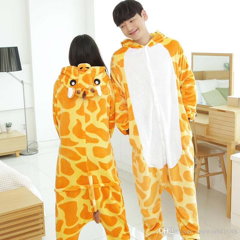 New Hot Sale Lovely Cheap Kigurumi Pajamas Anime Giraffe Cosplay Costume Unisex Adult Onesie Yellow Dress Sleepwear