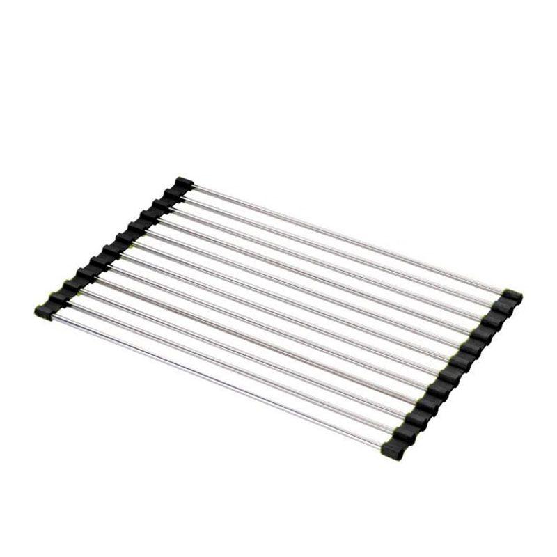 Home use Folding Stainless Steel +Silicone Kitchen Sink Drain Rack Shelf Fruit Vegetable Washing Rack Utensil Drainer