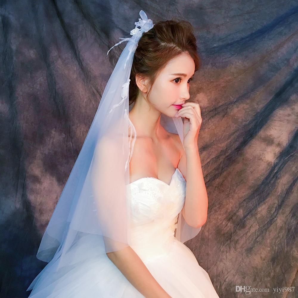 Y-O23 Wholesale Veils High Quality Real photos Purple White Netting Veils for Bridal Tulle with Feather Fast out Veils