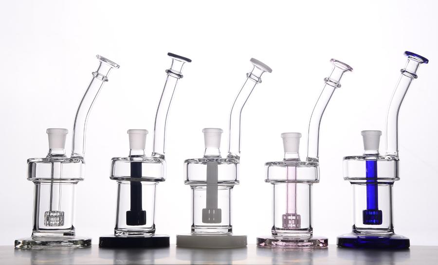Color Glass Bubbler Ash Catcher Color Inline Tire Percolator Water Pipe Oil Rig Bong 200mm Height With 14# Joint BestGlass M07-1