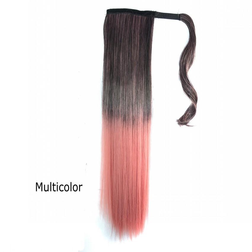 Sara 55 cm 22 pulgadas Resistente al calor Larga y recta Color de Ombre Envoltura alrededor de la cola de caballo Piezas de extensión de cabello es Peinado Cola de caballo