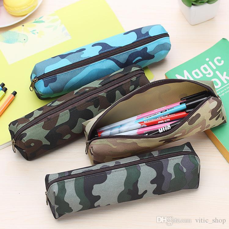 Ragazzo sacchetto della matita Camouflage sacchetto della penna di grande capienza della tela di canapa della chiusura lampo lavabile supporto della penna della cancelleria di alimentazione