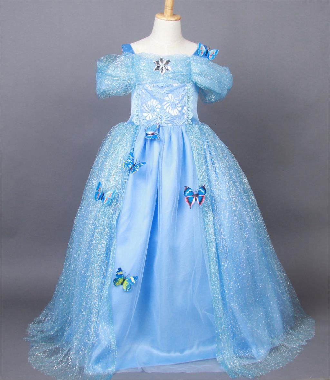 2018 Kids Girls Blue Cendrillon Halloween Petals Lace Cinderella ...