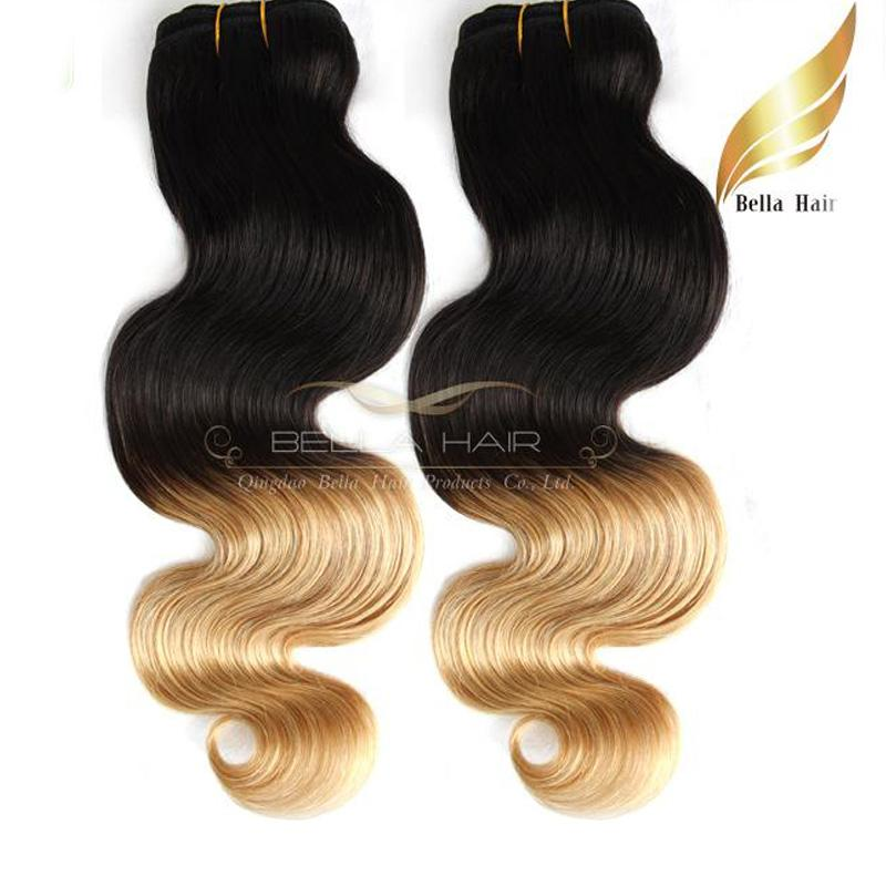"Ombre Human Hair Weaves Dip Dye Two Tone #T1B/#14""-26"" Malaysian Hair Body Wave Wavy Bellahair 8A"