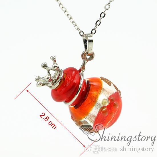 ball foil diffuser necklaces wholesale jewelry scents aromatherapy necklace diffuser glass vial necklace lampwork glass Perfume bottle