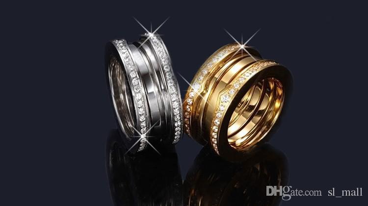 Anneaux de strass multiwall élastique en acier inoxydable titane de luxe, or jaune / or rose / argent métal couleurs femmes / hommes bijoux de mariage