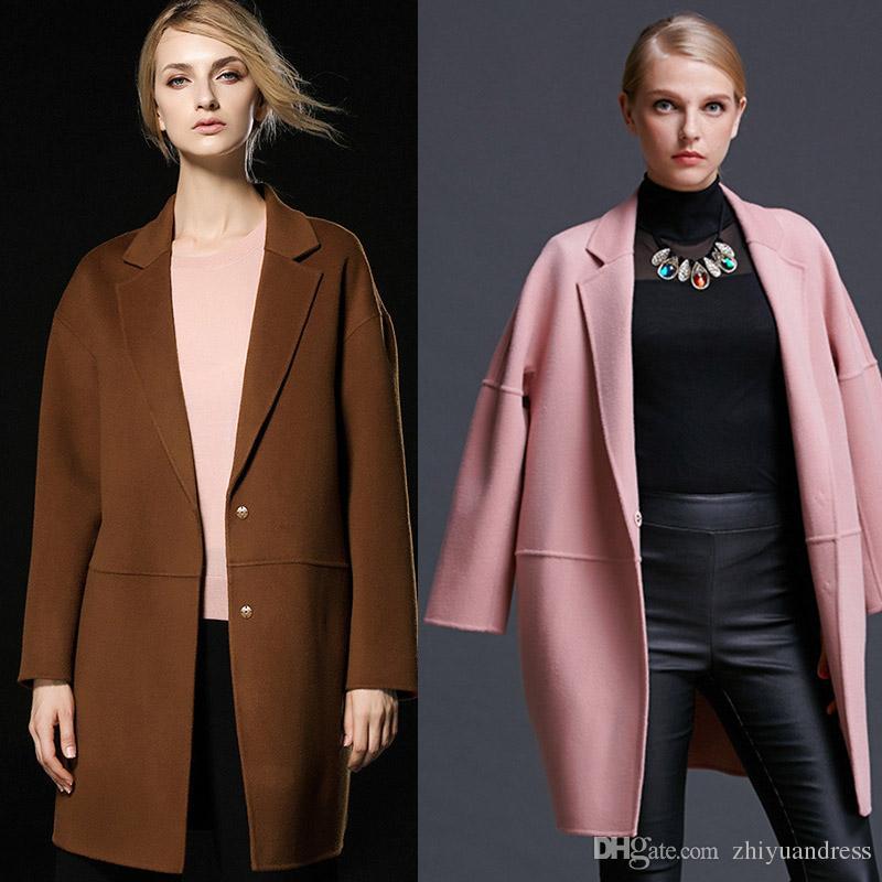 2017 Fashion Caramel/Pink/Red Womens Winter Wool Coats 2018 High ...
