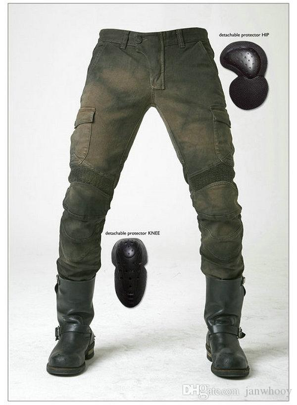 motorcycle pants korean Motorpool stylish riding jeans racing Protective pants of locomotive Black Stain over Olive green