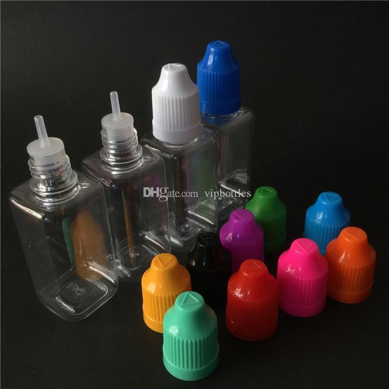 Ejuice boş kare pet şişe 10 ml 30 ml şeffaf şeffaf şişe çocuk geçirmez damlalık şişe ücretsiz kargo