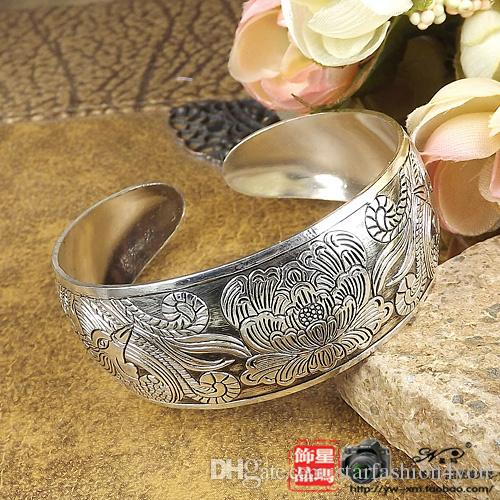 2016 womens ladies females punk elephant lotus wide ethnic opening Tibetan silver bangles bracelets wristband 10styles