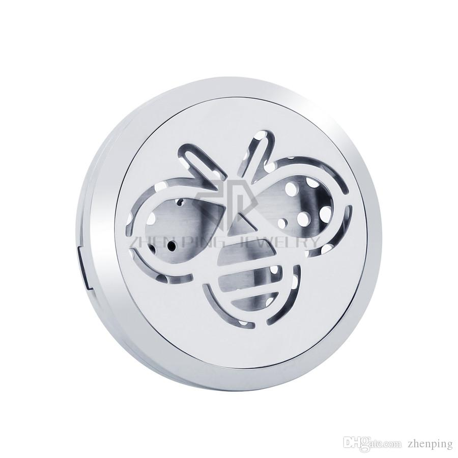 New Arrival Silver Bee 30mm Magnetic Diffuser 316 Stainless Steel Car Aroma Lockets Essential Oil Car Air Fresher Lockets