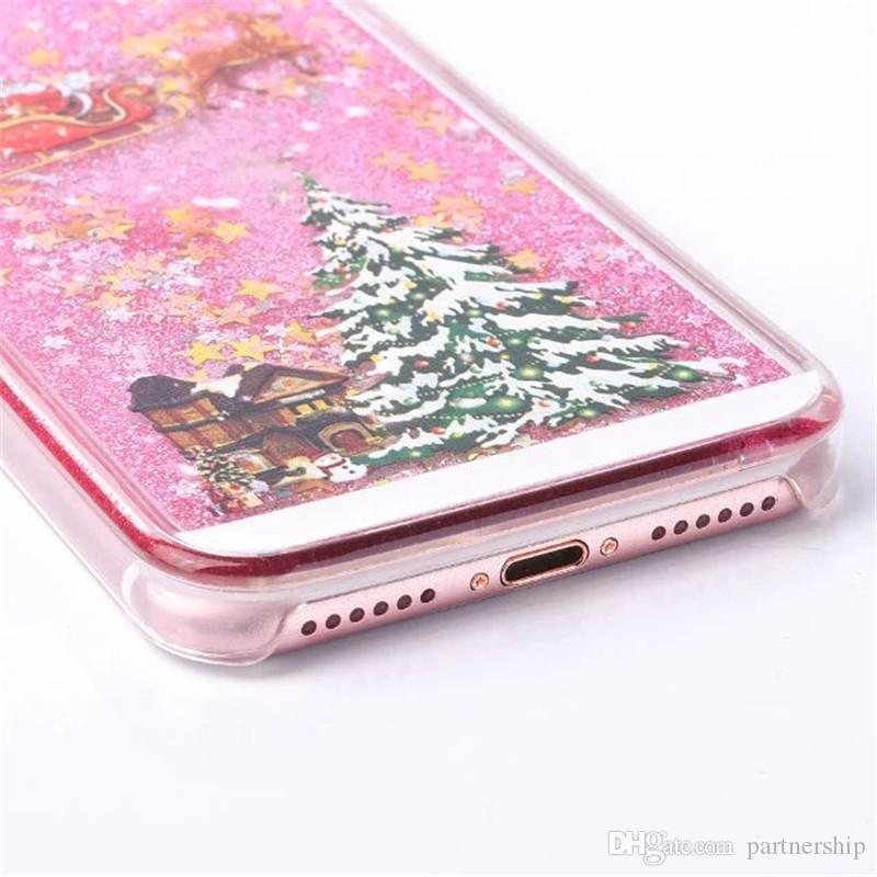 Новый Рождественский Подарочный Чехол Для iphone 5 5S SE 6 6s 7 Plus Блеск Звезды Жидкие Елки Жесткий ПК Мобильный Телефон Чехол Задняя Крышка Сумки