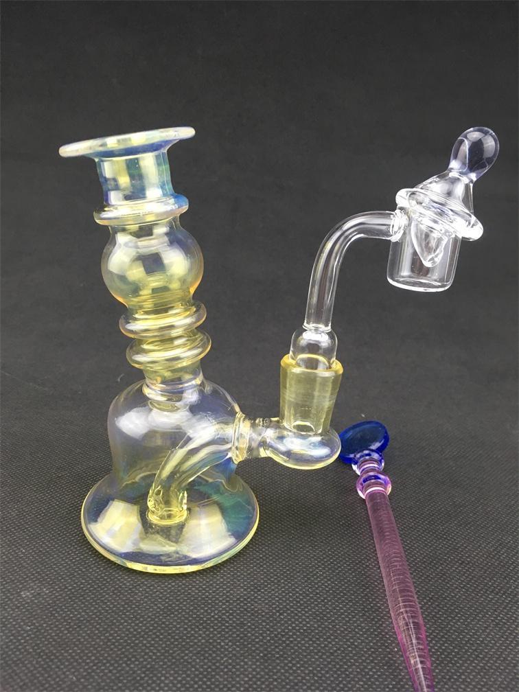 vftNew olio di vetro Rigs Bong acqua grande bruciore inebriante bomba al quarzo Beaker economici Bong colorati Recycler Bubbler 14mm Ciotola di vetro giallo blu