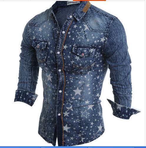 스타 인쇄 셔츠 캐주얼 젊은 학생 캐주얼 셔츠 데님 셔츠 청소년 학생 셔츠 데님 셔츠 데님 의류 조수 모델
