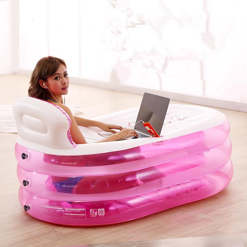 2018 Adult Inflatable Bathtub Thickening Folding Tub Bath Bucket ...