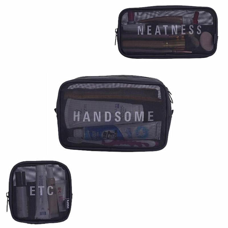 e0907bc90cc7 Wholesale- Black Mesh Cosmetic Bags Travel Functional Makeup Case  Beautician Necessaire Toiletry Organizer Pouch Accessories Supplies