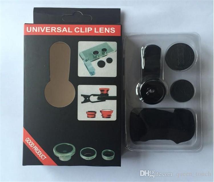 3 in 1 Universal-Clip Fisch-Augen-Weitwinkel Makro Telefon Fisheye Glas Kamera-Objektiv für Samsung S6 S8 Günstige Preise + Beste Qualität