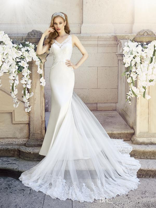 Romantic Chantilly Lace Mermaid Wedding Gowns Vintage Lace Straps V ...