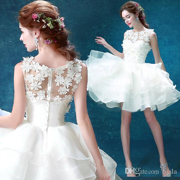 discount t36 vestidos vestido de novia sheer lace short mini wedding